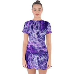 Abstract Space Drop Hem Mini Chiffon Dress by Bajindul