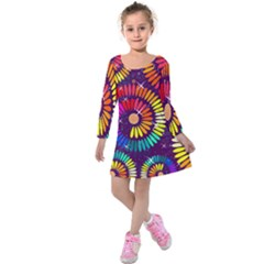 Abstract Background Spiral Colorful Kids  Long Sleeve Velvet Dress by Bajindul