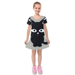 Cat Pet Cute Black Animal Kids  Short Sleeve Velvet Dress by Bajindul