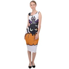 Halloween Cute Cat Sleeveless Pencil Dress by Bajindul
