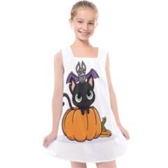 Halloween Cute Cat Kids  Cross Back Dress by Bajindul