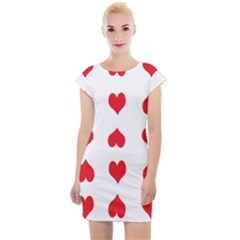 Heart Red Love Valentines Day Cap Sleeve Bodycon Dress