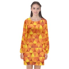 Background Triangle Circle Abstract Long Sleeve Chiffon Shift Dress
