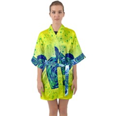 Heart Emotions Love Blue Quarter Sleeve Kimono Robe by Bajindul
