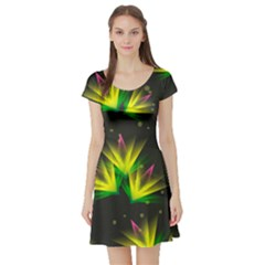 Floral Abstract Lines Short Sleeve Skater Dress