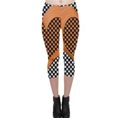 Heart Chess Board Checkerboard Capri Leggings  by Bajindul