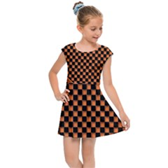 Heart Chess Board Checkerboard Kids  Cap Sleeve Dress by Bajindul