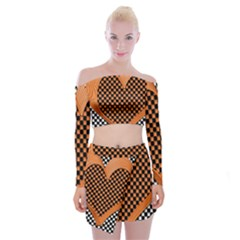 Heart Chess Board Checkerboard Off Shoulder Top With Mini Skirt Set by Bajindul
