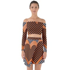 Heart Chess Board Checkerboard Off Shoulder Top With Skirt Set by Bajindul