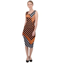 Heart Chess Board Checkerboard Sleeveless Pencil Dress by Bajindul