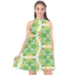 Green Pattern Retro Wallpaper Halter Neckline Chiffon Dress