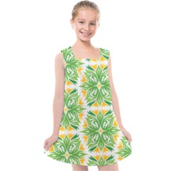 Green Pattern Retro Wallpaper Kids  Cross Back Dress by Bajindul