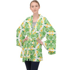 Green Pattern Retro Wallpaper Velvet Kimono Robe by Bajindul