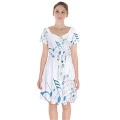 Music Notes Short Sleeve Bardot Dress