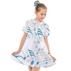 Music Notes Kids  Short Sleeve Shirt Dress by Bajindul