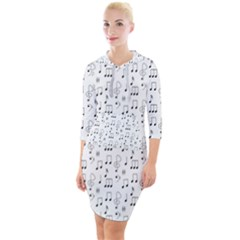 Music Notes Background Wallpaper Quarter Sleeve Hood Bodycon Dress