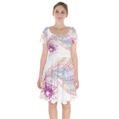 Music Notes Abstract Short Sleeve Bardot Dress by Bajindul
