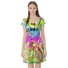 Music Abstract Sound Colorful Short Sleeve Skater Dress