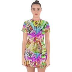 Music Abstract Sound Colorful Drop Hem Mini Chiffon Dress by Bajindul