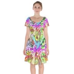 Music Abstract Sound Colorful Short Sleeve Bardot Dress