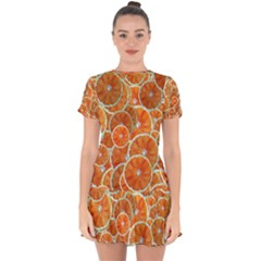 Oranges Background Texture Pattern Drop Hem Mini Chiffon Dress by Bajindul