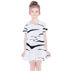 Sky Birds Flying Flock Fly Kids  Simple Cotton Dress by Bajindul