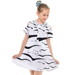 Sky Birds Flying Flock Fly Kids  Short Sleeve Shirt Dress by Bajindul