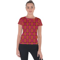 Pattern Red Background Structure Short Sleeve Sports Top  by Bajindul