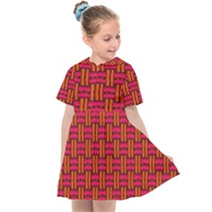 Pattern Red Background Structure Kids  Sailor Dress by Bajindul