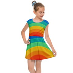 Rainbow Background Colorful Kids  Cap Sleeve Dress by Bajindul