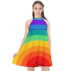 Rainbow Background Colorful Halter Neckline Chiffon Dress  by Bajindul
