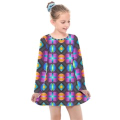 Squares Spheres Backgrounds Texture Kids  Long Sleeve Dress by Bajindul