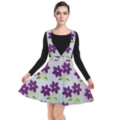 Purple Flower Plunge Pinafore Dress by Bajindul