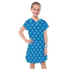 Pattern Graphic Background Image Blue Kids  Drop Waist Dress by Bajindul