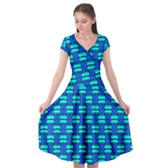 Pattern Graphic Background Image Blue Cap Sleeve Wrap Front Dress by Bajindul