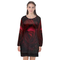 Rose Art Beautiful Beauty Bloom Long Sleeve Chiffon Shift Dress
