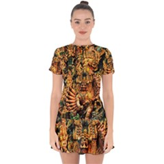 Sculpture Art Temple Tower Drop Hem Mini Chiffon Dress