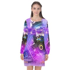 Ski Boot Ski Boots Skiing Activity Long Sleeve Chiffon Shift Dress