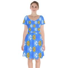 Pattern Sequence Motif Design Plan Flowers Short Sleeve Bardot Dress