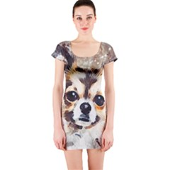 Chihuahua Dog Cute Pets Small Short Sleeve Bodycon Dress