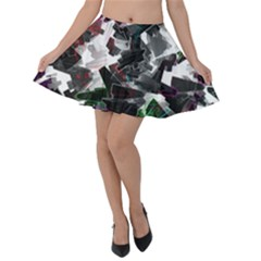 Abstract Background Science Fiction Velvet Skater Skirt