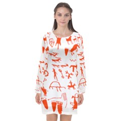 Petroglyph Art Symbols Art Rock Long Sleeve Chiffon Shift Dress
