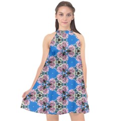 Pattern Sequence Motif Design Plan Floral Halter Neckline Chiffon Dress