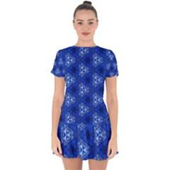 Background Wallpaper Pattern Blue Drop Hem Mini Chiffon Dress