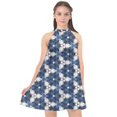 Background Wallpaper Pattern Halter Neckline Chiffon Dress