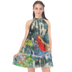Texture Art Decoration Abstract Bird Nature Halter Neckline Chiffon Dress