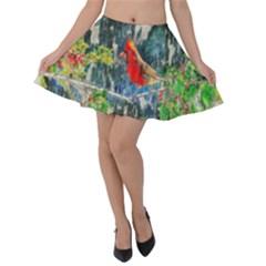 Texture Art Decoration Abstract Bird Nature Velvet Skater Skirt by Pakrebo