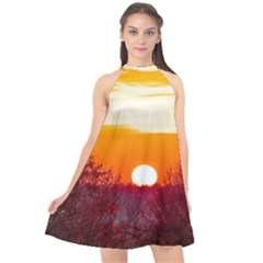 Sun Evening Sunset Sky Landscape Halter Neckline Chiffon Dress