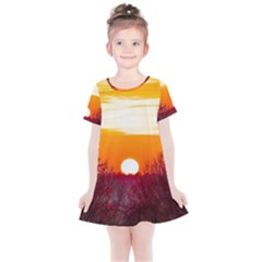 Sun Evening Sunset Sky Landscape Kids  Simple Cotton Dress