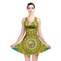 Mandala In Peace And Feathers Reversible Skater Dress by pepitasart
